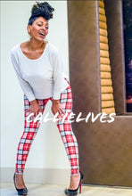 Load image into Gallery viewer, CALLIE: Red Black White Plaid Holiday Leggings