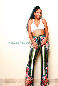 CALLIE Circus Flower: PolyScuba Flared Stripe Pants