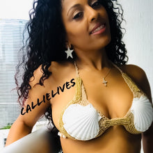 Load image into Gallery viewer, Xena Goddess Seashells: Gold Beaded Crochet Bikini - callielives