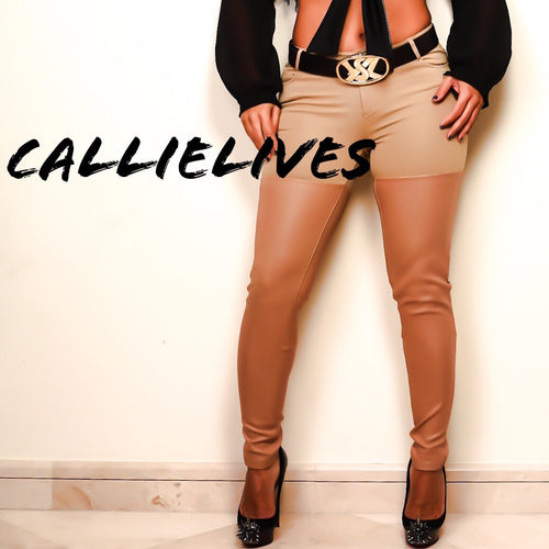 Xena Vegan: Tan Faux Leather Pants  Vegan: Tan Faux Leather Skinny Pants - callielives