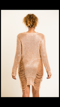 Load image into Gallery viewer, Callie Rose Gold Distressed Crochet Sweater Tunic - callielives