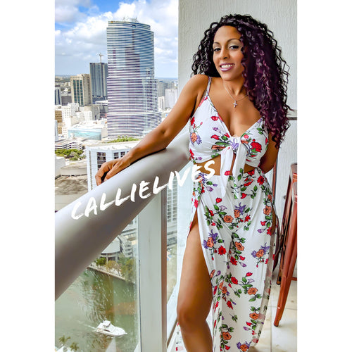 Callie Flower: Crop Top High Waist Harem Pants Set - callielives