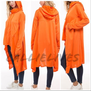 Miz Hi Lo: Kangaroo Hoodie Jacket Cape Top - callielives