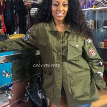 Load image into Gallery viewer, Miz Utility: Deep Pocket Army Green Patched jacket - callielives