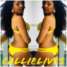 Load image into Gallery viewer, Stasia Flowerkini: Yellow Cut Out Triangle Bikini - callielives