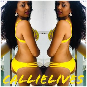 Stasia Flowerkini: Yellow Cut Out Triangle Bikini - callielives