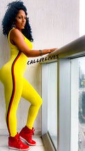 Load image into Gallery viewer, Stasia Striped Cat: Yellow Catsuit w/ Green and Red Side Stripe