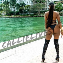 Load image into Gallery viewer, Xena Braided & Weaved: Black Strappy 2PC Bikini XL - callielives