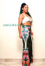 Load image into Gallery viewer, CALLIE Circus Flower: PolyScuba Flared Stripe Pants
