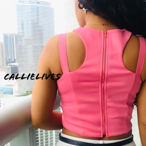 Stasia Cropped: Easter Pink Strappy Racerback Top - callielives