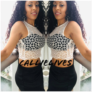 Callie Mix: Geometric Lace Bralette style Crop top, Tops, CallieLives