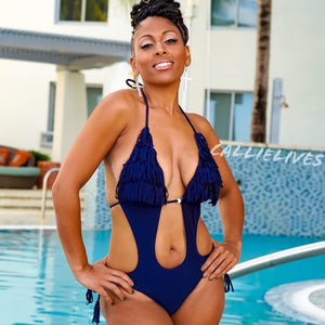 Callie Plus: Blue Fringe Monokini 1X XL