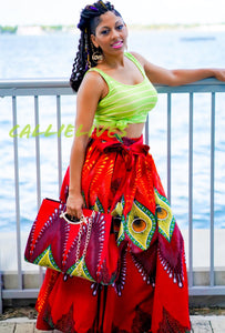 Callie Peacock Maxi: Ankara Feather Skirt and Handbag Set