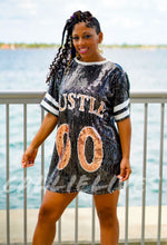 Load image into Gallery viewer, Miz: Double 0 Hustle Sequin Jersey Shirt Dress - callielives