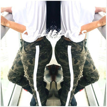 Load image into Gallery viewer, Miz Plus Ripped Camo: Torn Side Stripe Jeans - callielives