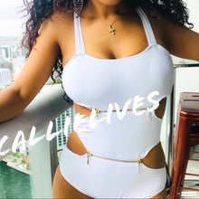 Load image into Gallery viewer, Callie Golden Zipper: Cutout One Piece Swimsuit LG
