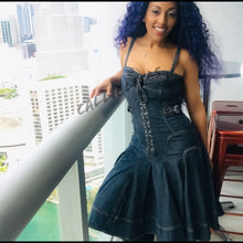 Load image into Gallery viewer, Callie Ruffled Denim: Blue Midi Laced Bustier Dress - callielives