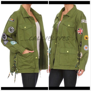 Miz Utility: Deep Pocket Army Green Patched jacket - callielives
