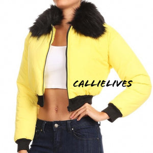 Stasia Cropped: Faux Fur Yellow Puffer Bomber Jacket