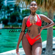 Load image into Gallery viewer, Xena V-Lift Bikini: Red Double Strap Bodycon L XL - callielives