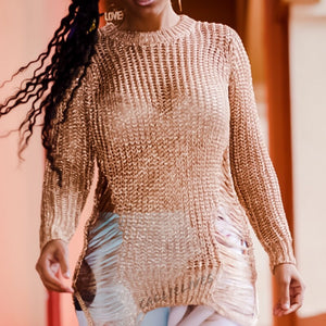 Callie Rose Gold Distressed Crochet Sweater Tunic