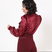 Load image into Gallery viewer, Callie Cranberry Velvet Sequin Plunging Bow Romper
