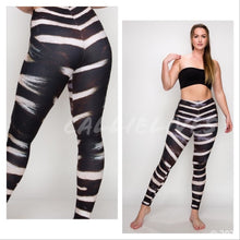 Load image into Gallery viewer, Miz Plus: Zebra Fur 3D illusion Print Leggings XL