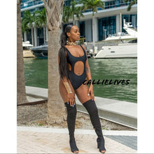 Load image into Gallery viewer, Xena Peek-a-Boo: Black Night & Day CutOut Swimsuit - callielives