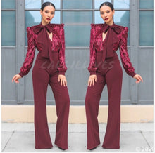 Load image into Gallery viewer, Callie Cranberry Velvet Sequin Plunging Bow Romper, Rompers and Catsuits, CallieLives