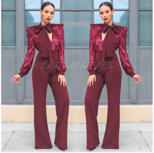 Callie Cranberry Velvet Sequin Plunging Bow Romper, Rompers and Catsuits, CallieLives
