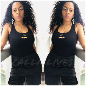Xena Seamless: Peephole Side Net CutOut Tank Top - callielives