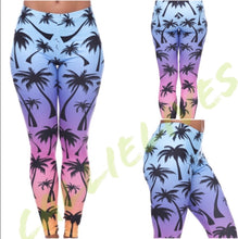 Load image into Gallery viewer, Rainbow Palm Tree Ombré Illusion Leggings - callielives