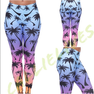 Rainbow Palm Tree Ombré Illusion Leggings - callielives