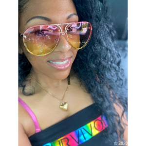Callie Aviator: OVERSIZED Pink Yellow Ombré Sunglasses, Accessories, CallieLives