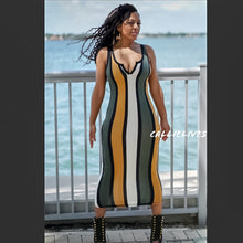 Load image into Gallery viewer, Callie Colonel Mustard: Racerback Striped Midi Dress - callielives