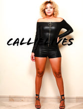 Load image into Gallery viewer, Xena Pull Up: Faux Leather Onesie Shorts Romper, Rompers and Catsuits, CallieLives