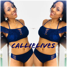 Load image into Gallery viewer, Callie Macrame: Off Shoulder Navy Blue Lace Bikini - callielives