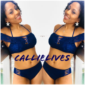 Callie Macrame: Off Shoulder Navy Blue Lace Bikini - callielives