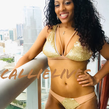Load image into Gallery viewer, Xena Goddess Gold Sequin Bikini Nude Fabric Swimsuit - callielives