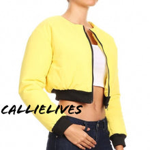 Load image into Gallery viewer, Stasia Cropped: Faux Fur Yellow Puffer Bomber Jacket