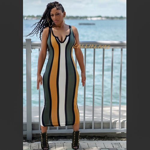 Callie Colonel Mustard: Racerback Striped Midi Dress - callielives