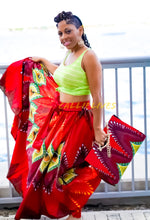 Load image into Gallery viewer, Callie Peacock Maxi: Ankara Feather Skirt and Handbag Set
