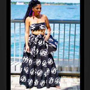 Callie Asiatic Maxi: Ankara Bandeau, Skirt & Handbag Set
