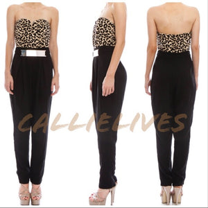 Callie Cougar: Cheetah Strapless Jumpsuit Slacks - callielives