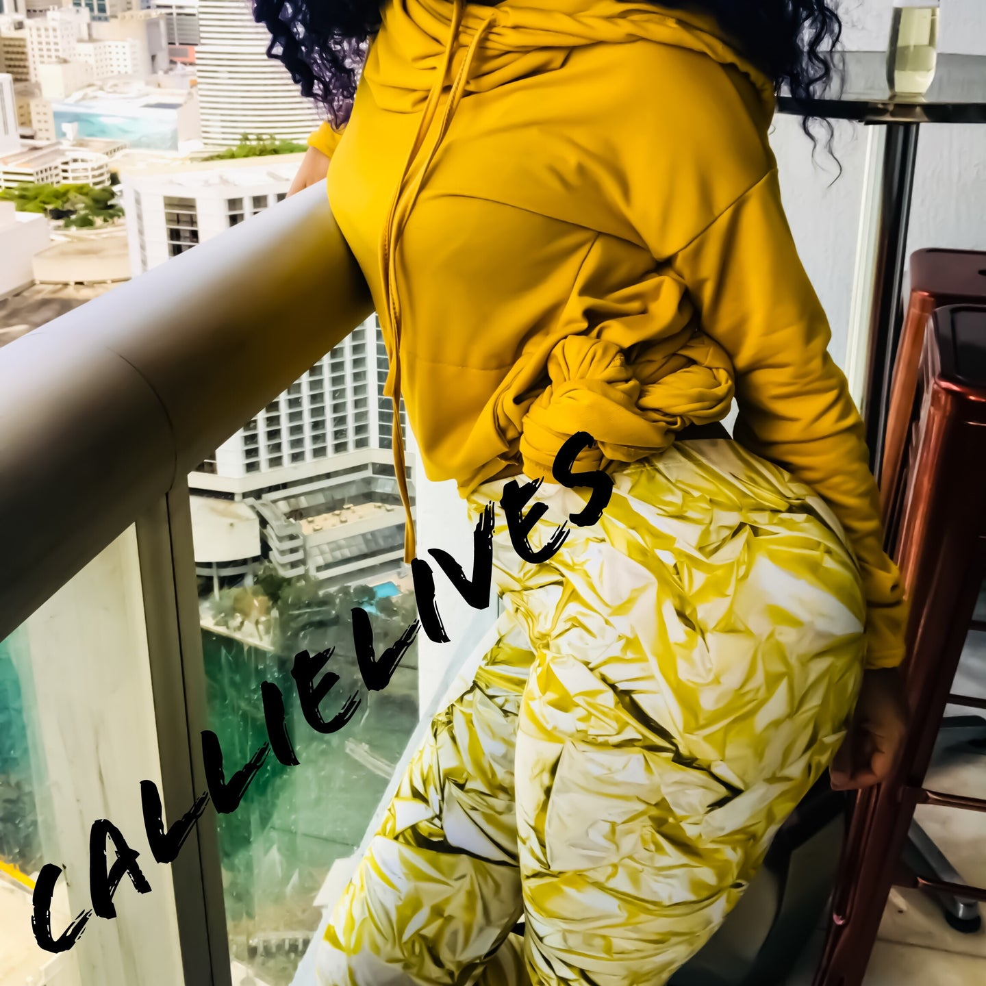 Miz GoldBar: Yellow White 3D graphic Legging - callielives