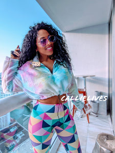Stasia Cropped: Pastel Faux Fur Rainbow Sweater, Jackets and Blazers, CallieLives