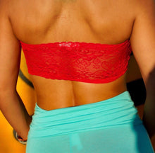Load image into Gallery viewer, Stasia Lacy Bandeau: Red Cropped Tube Top