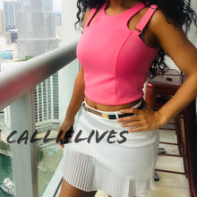 Load image into Gallery viewer, Stasia Cropped: Easter Pink Strappy Racerback Top