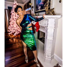 Load image into Gallery viewer, Callie New Year Sequin Green Blue Ombre Midi Dress, Dresses, CallieLives