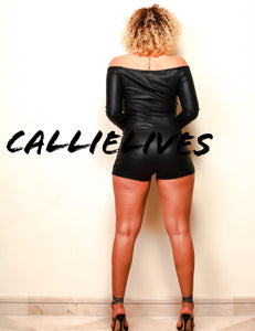 Xena Pull Up: Faux Leather Onesie Shorts Romper, Rompers and Catsuits, CallieLives